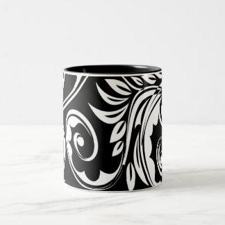 Black white floral paisley pattern Two-Tone coffee mug