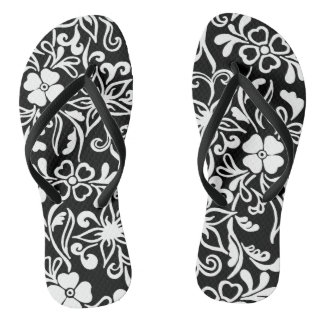 Black & white floral pattern thongs