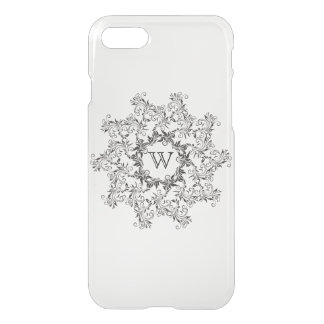 Black & White Floral Pattern with Monogram iPhone 7 Case