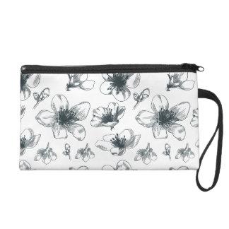 Black & White Floral Pattern Wristlet