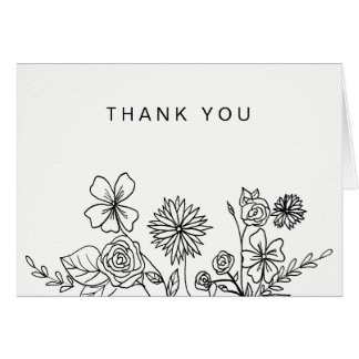 Black White Floral Simple Generic Thank You Card