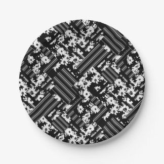 Black white floral stripes patch pattern 7 inch paper plate