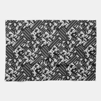 Black white floral stripes patch pattern hand towel