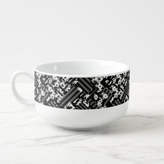 Black white floral stripes pattern soup mug
