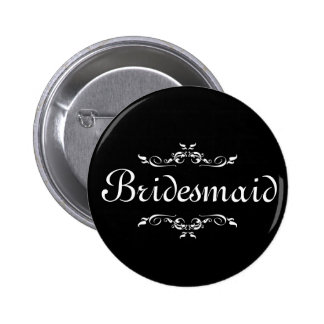 Black & White Floral Swirl Border Bridesmaid 6 Cm Round Badge