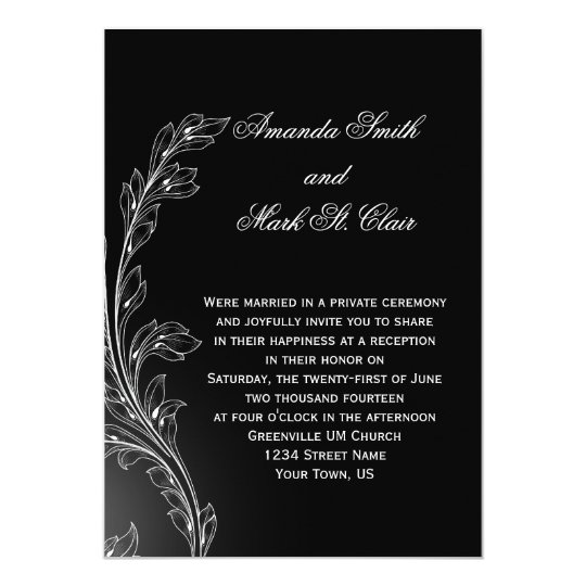 Black White Floral Swirls Post Wedding Card