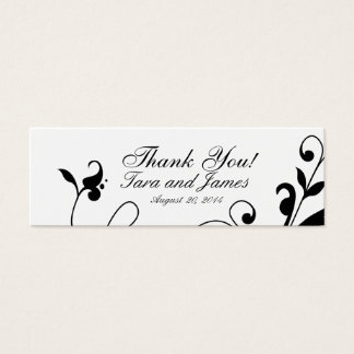 Black White Floral Swirls Wedding Favor Tags