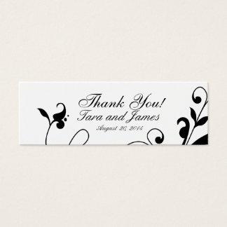 Black White Floral Swirls Wedding Favor Tags Mini Business Card