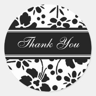 Black & White Floral Thank You Envelope Seals Round Sticker
