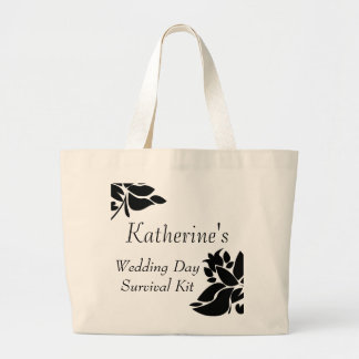 Black & White Floral Wedding Day Survival Kit Bag