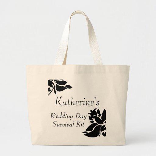 Black & White Floral Wedding Day Survival Kit Bag