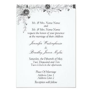 Black White Floral Wedding Invitation Invite