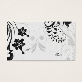 Black White Floral Wedding Place or Escort Cards