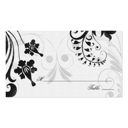 Black White Floral Wedding Place or Escort Cards Business Card Templates