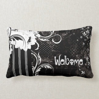 Black White Floral Welcome Skull Lumbar Pillow