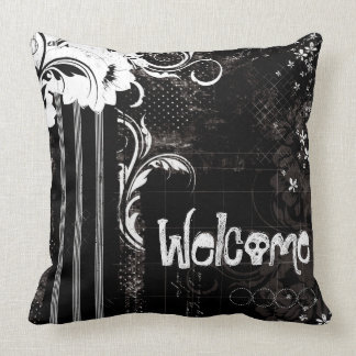 Black White Floral Welcome Skull Throw Pillow