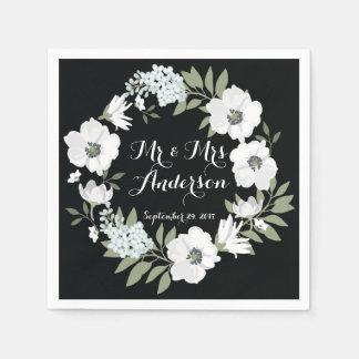 Black White Floral Wreath Wedding Napkin Paper Napkin