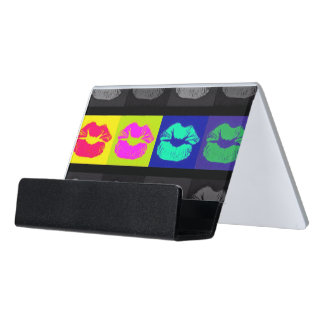 Black&White Florescent Lips Desk Business Card Holder