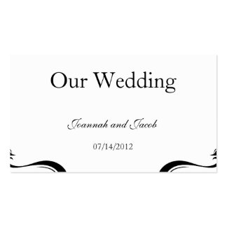 Black White Flourish Hearts Wedding Website Card Business Card Templates