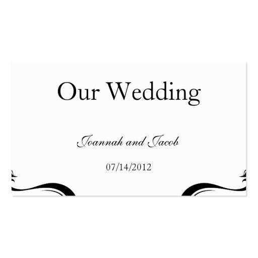 Black & White Flourish Hearts Wedding Website Card Business Card Templates