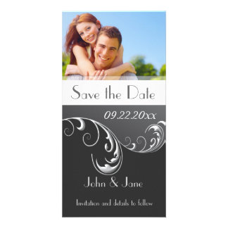 "Black & White Flourish/photo  ""Save the Date"" Picture Card"