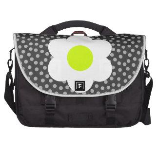 Black & White Flower & Dots Laptop Bag