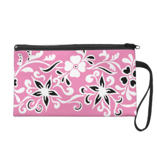 Black & white flower drawing on pink wristlet purse
