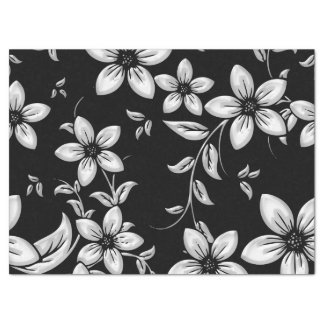 Black & White Flower Pattern Tissue Paper