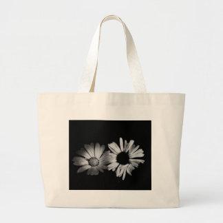 Black White Flowers Canvas Bags