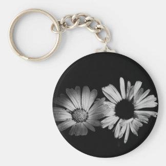 Black White Flowers Key Chains