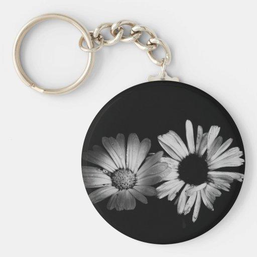 Black & White Flowers Key Chains