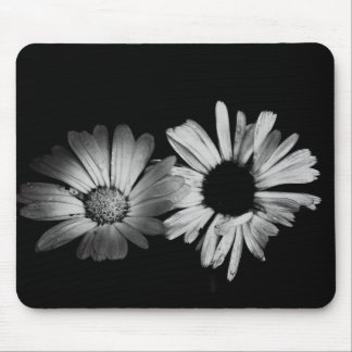 Black White Flowers Mouse Mat