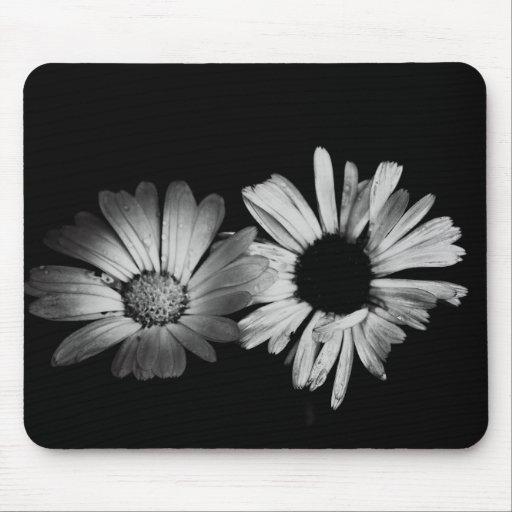 Black & White Flowers Mouse Mat