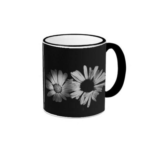 Black & White Flowers Coffee Mugs