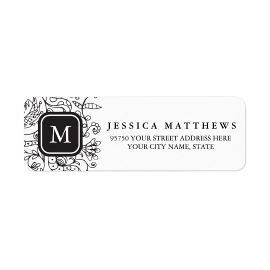 Black & White Flowers Personalised Monogram Label