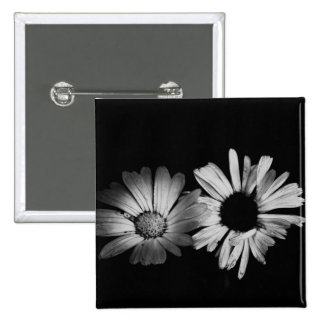 Black White Flowers Pins