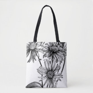 Black&White flowers Tote Bag