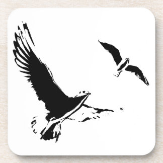 Black & White Flying Birds - Plastic Coasters