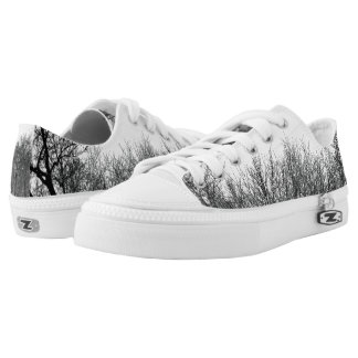 Black & White Forest Design - Low-Top Sneakers