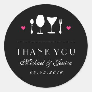 Black White Fork Spoon Wedding Thank You Sticker