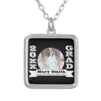 Black & White Formal Graduation Announcement Silver Plated Necklace