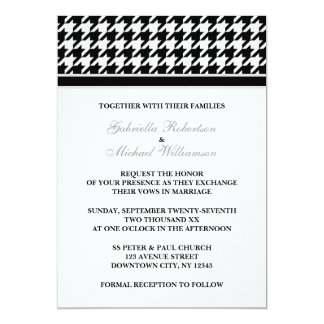 Black White Formal Houndstooth Wedding Invitations