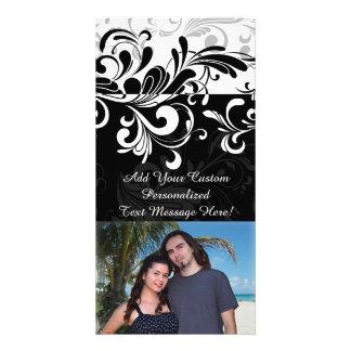 Black White Fountain Swirl Party Customized Photo Card