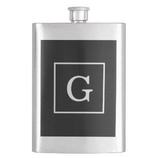 Black White Framed Initial Monogram Hip Flask