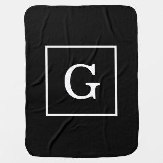 Black White Framed Initial Monogram Receiving Blanket