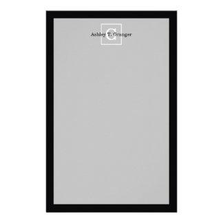 Black White Framed Initial Monogram Stationery