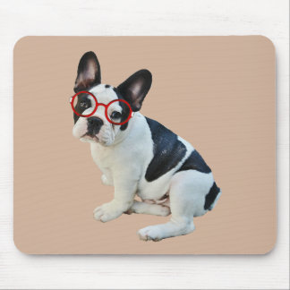 Black & White French Bulldog Wearing Red Glasses Mouse Pad