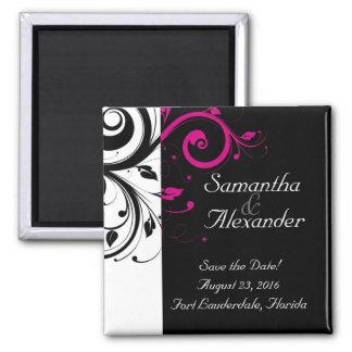Black White Fuchsia Reverse Swirl Wedding Magnet