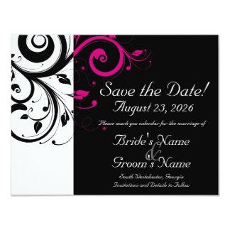 Black, White, Fuchsia Swirl Wedding Save the Date 11 Cm X 14 Cm Invitation Card