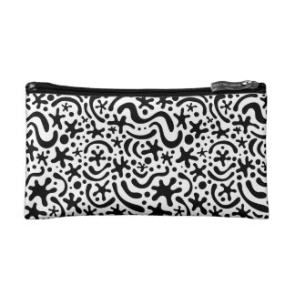 Black & White Funky Blob & Squiggle Pattern Bag Cosmetic Bags